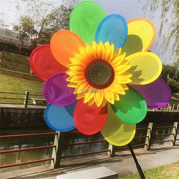 Kids Sunflower Rainbow Windmill Wind Spinner Whirligig Wheel Home Yard Decoration