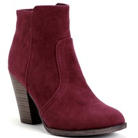 Burgundy Faux Suede Ankle Boots