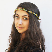 Mustard Yellow Headband, Rustic Mustard Seed and Olive Leaf Crown - Hippie Headband, Boho Chic, Woman's Fashion, Woodland, Saffron