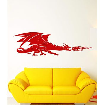 Vinyl Wall Decal Fire-Breathing Dragon Fantasy Fairy Tale Stickers Unique Gift (1760ig)