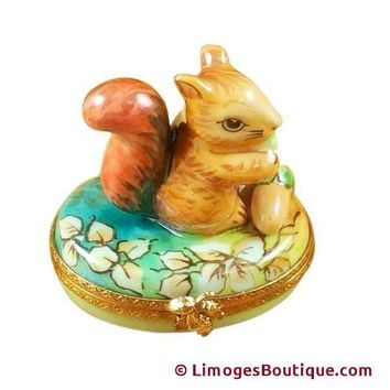 Squirrel In Field With Acorn Limoges Box