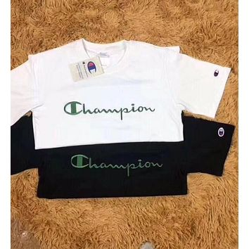 Copy of Champion Popular Women Men Leisure Green Embroidery Logo Short Sleeve Round Collar Couple T-Shirt Pullover Top I12099-1