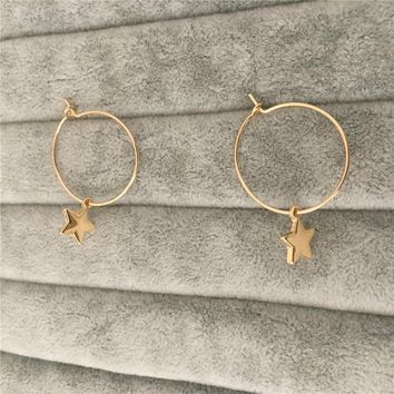 CUTE GIRLY GOLD COLOR WITH SMALL STAR WITH HOOP EARRING FOR WOMEN GIRL