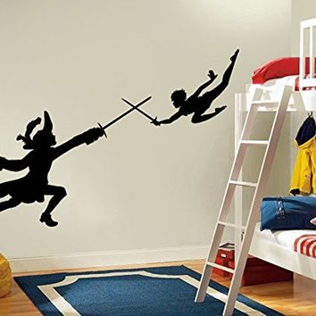 kau419 Peter Pan wall decal, peter pan wall sticker, wall decal nursery,wall decal kids,wall sticker disney,Tinkerbell Pirate Never Grow Up