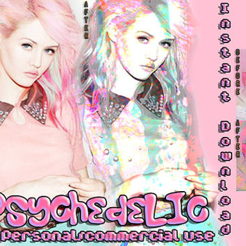 "Photoshop PSD Coloring File Instant Download Photo Effects Actions ""PSYCHEDELIC"" Pink Pastel Cute Glow Neon Dolly Fairy Kei Lolita Princess"