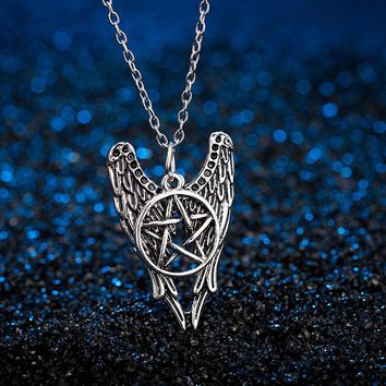 Hot Movie The Forces Of Evil Talisman Supernatural Necklace Pentagram Angel Wings Vintage Pendant Jewelry For Men And Women