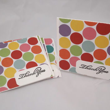 Thank You Cards Set of 3 Cards Polka Dot Cards Handmade Thank You Cards