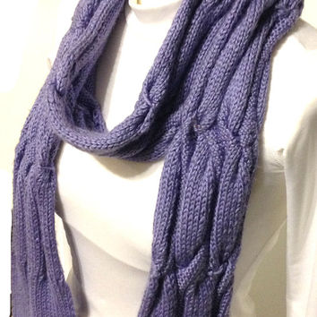Extra Long Scarf Hand Knit Reversible Pattern Periwinkle - Lilac - Lavender  Handmade Long Scarf