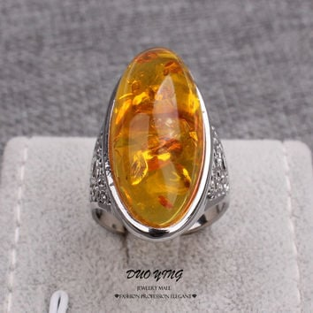 2015 Fashion Hot Restoring Ring with Yellow Amber Stones, Best Selling Gold Amber Ring for Women