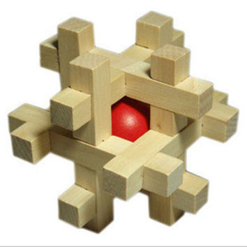 Applied Style Snake Cube Wooden Puzzle Brain Teaser Take Out the Red Ball BD