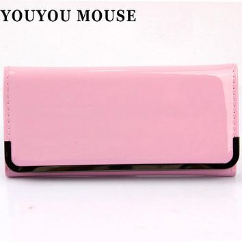 YOUYOU MOUSE Korean Style Womens Wallet Candy Colors Hasp Long Section Simple Solid Color Ladies Purse PU Leather Card Holder