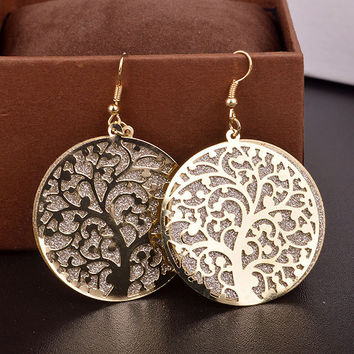 Gold Dangle Earrings Frosted Tree Bohemian Style