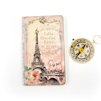 Paris Journal - Cottage Chic Notebook - Eiffel Tower Diary