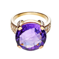 RenéSim Amethyst Rose Gold Cocktail Ring