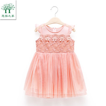 fashion cute floral baby girl chiffon dress sleeveless children clothing red white 2t 3t 4t 5t