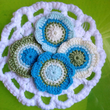 Hand Crochet Flower Appliques Embellishment Coasters-Set of 4-Teal Blue, Mint Green, Cream, and Green