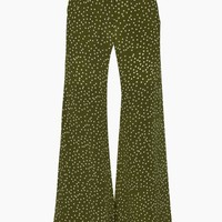 Silk Crepe De Chine Wide Leg Pants - Mille Punti Green Dot Print