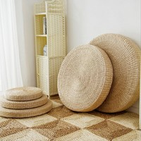5 Size Hot Natural Straw Round Pouf Tatami Cushion Floor Cushions Meditation Yoga Round Mat Zafu Chair Cushion 40/45/50/60/70cm