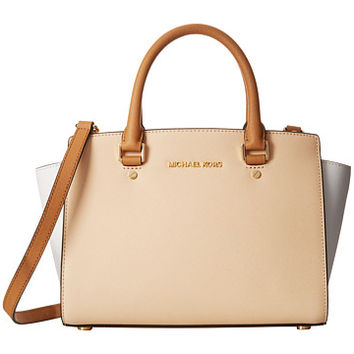 MICHAEL Michael Kors Selma Medium Top-Zip Satchel Nude/White/Pnut - Zappos.com Free Shipping BOTH Ways
