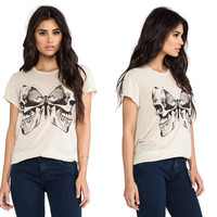 street style skull butterfly print casual woman loose T-shirt