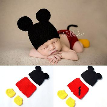 Infant Toddler Mickey Photography Props Baby Boy Mouse Hat Diaper Cover & Shoes Newborn Cartoon Costume Outfit H284