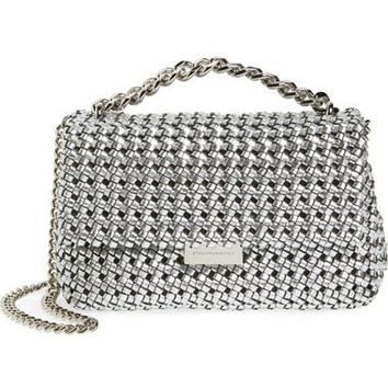 Small Woven Faux Leather Shoulder Bag