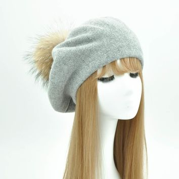 Women Berets Hat Wool Winter Hat for Women Cap Natural Real Raccoon Fur Pompom Beret Female Cashmere Angola New Beret Hat