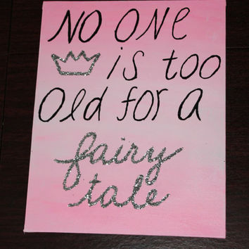 Canvas Painting, Ombre, Fairytale Quote, Glitter, Decoration, Paintings by DesignsByTEJ on Etsy
