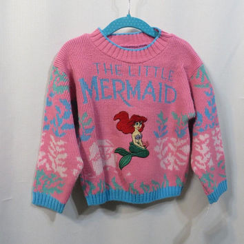 Vintage Sweater 90s Little Mermaid Pink Novelty Retro Girls Acrylic Pullover