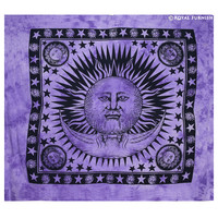 Purple Bright Sun Moon Hippie Tie Dye Tapestry Wall Hanging Decor Art on RoyalFurnish.com