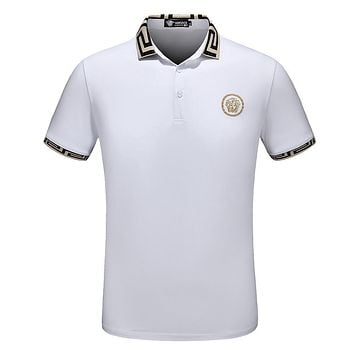 Versace Summer Lapel POLO Shirt Men's Short Sleeve T-Shirt F-A00FS-GJ white