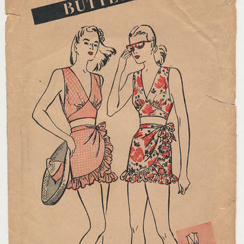 vintage 3344 Butterick BATHING SUIT sewing pattern (UNUSED) (40s) (sz14/B32)