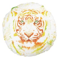 Tiger Art Paint Round Pillow