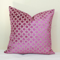 Magenta geo velvet pillow covers 18x18 20x20 pillow cover 24x24 pillow cover 26x26 pillow cover Euro sham lumbar pillow cover robert allen