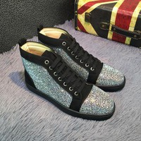 VONE05CS Best Online Sale Christian Louboutin CL Louis Strass Bling Blin Black Men's Women Flat Shoes Boots