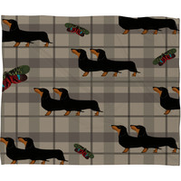 Natt Gray Tartan And Dachshund Fleece Throw Blanket