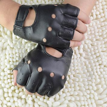 1Pair Synthetic Leather Black Driving Motorcycle/Bicycle Fingerless Gloves Men Women Gloves Fashion Sale Half Finger Gloves