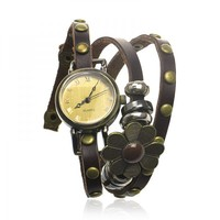 Dark Brown Leather Wrap Watch with Flower