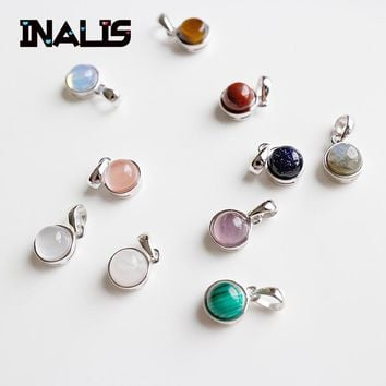 INALIS New Luxurious Fine Jewelry S925 Sterling Silver Agate Moonstone Tiger Eye Opal Redstone Sandstone Pendant Without Chain