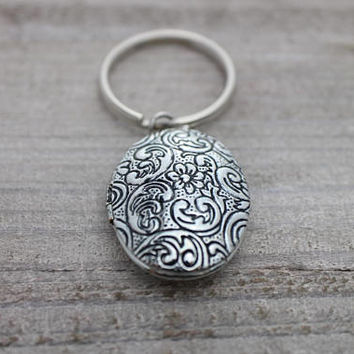 Antique locket paisley photo silver key ring