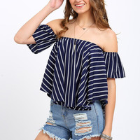 Striped Off-the-shoulder Swing Top [6221433924]