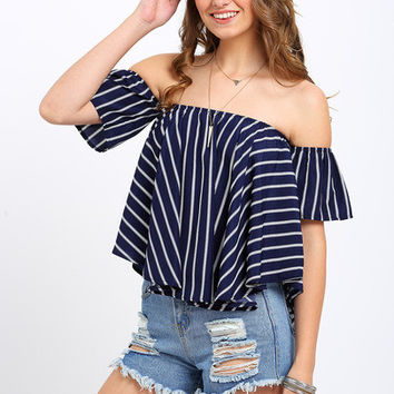 Striped Off-the-shoulder Swing Top [6259171716]