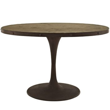 "Drive 47"" Industrial Modern Oval Wood Top Dining Table"