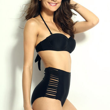 Black High Waisted Bikini with Cut-Out Detail