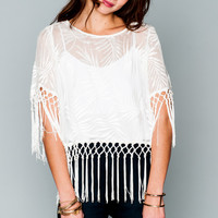 Show Me Your mumu Madison Fringe Top ~ Leafy Luxe White