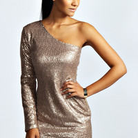 Sofia One Sleeve Sequin Mini Bodycon Dress