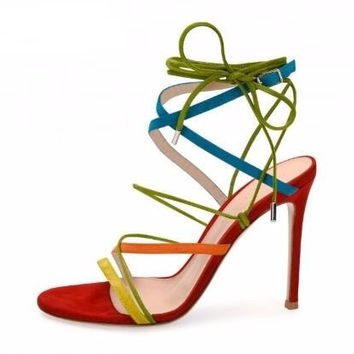 Newest Faux Suede Mixed Colors Narrow Band Women Cross Strap High Heel Sandals Summer Hollow Out Ankle Strap Lace Up Pumps