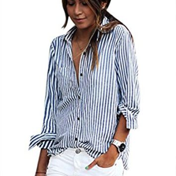 Women's Long Sleeve Turn-down Collar shirt Striped Blouse Botton-Up Casual Top