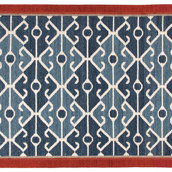 Gin Flat-Weave Rug, Blue/Red, Area Rugs