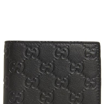 Logo Embossed Calfskin Leather Wallet